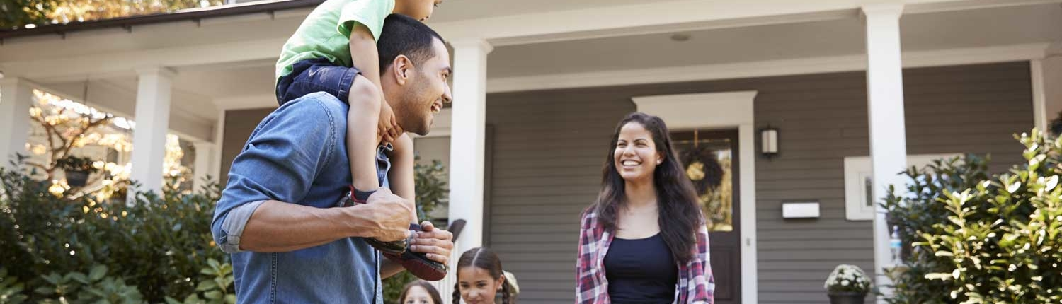 Happy family after home inspection