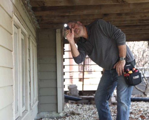 Eric, Owern, Pro Home Inspections, Checking under porch