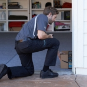 delivery man in garage | AmericanVerified | smart garage Home Inspection Cincinnati